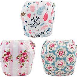 babygoal Reusable Swim Diaper for Girls, One Size Adjustable and Washable Swim Underwear fits Bab... | Amazon (US)