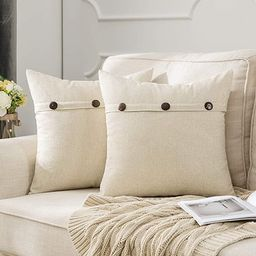 MIULEE Set of 2 Decorative Linen Throw Pillow Covers Cushion Case Triple Button Vintage Farmhouse...   Amazon (US)