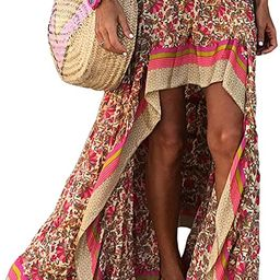 BTFBM Women Boho Floral Print Long Skirt Dress Chic High Low Side Split Ruffle Hem Elastic Waist ... | Amazon (US)