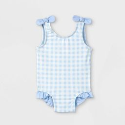 Baby Girls' Gingham Check One Piece Swimsuit - Cat & Jack™ Blue | Target