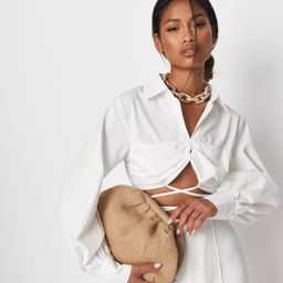 Missguided - Delaney Childs Edit White Wrap Over Poplin Crop Shirt | Missguided (US & CA)