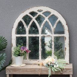 Distressed Arched Window Pane Wood Framed Wall Mirror, Cathedral Accent Wall Mirror,Farmhouse Wal...   Etsy (US)