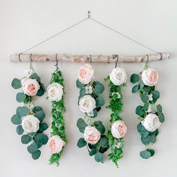 Flower wall hanging, floral wall hanging, eucalyptus wall decor,boho wall decor, floral backdrop,...   Etsy (US)