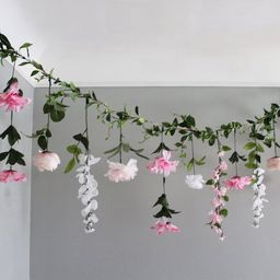 Pink and White Hanging Flowers, Flower Garland Backdrop, Wedding Flower Garland, Wedding Ceremony...   Etsy (US)