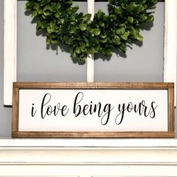 I love being yours, farmhouse sign, bedroom sign   Etsy (US)