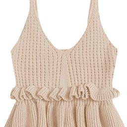 SweatyRocks Women's Casual Knit Top Sleeveless Ruffle Hem V Neck Peplum Crop Tank Top   Amazon (US)
