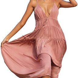 CUPSHE Women's Plunge Neck Tiered Maxi Dress   Amazon (US)