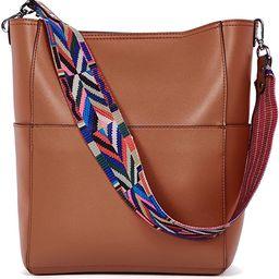 BROMEN Women Handbag Designer Vegan Leather Hobo Handbags Shoulder Bucket Cross-body Purse | Amazon (US)