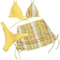 SOLY HUX Women's Tie Dye Wrap Bikini Bathing Suits with Mesh Beach Skirt 3 Piece Swimsuits | Amazon (US)
