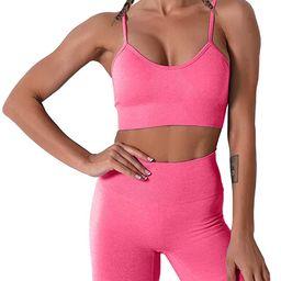 Women Seamless Yoga Set 2 Piece Workout Sport Bra with High Waist Shorts Legging Outfit Tracksuit... | Amazon (US)