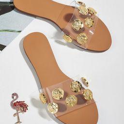 Metal Decor Slide Sandals | SHEIN