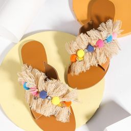 EMERY ROSE Pom Pom & Lace Decor Slide Sandals | SHEIN