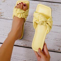 Minimalist Knot Design Slide Sandals   SHEIN