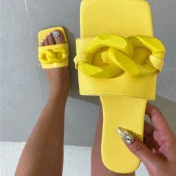 Minimalist Chain Decor Slide Sandals   SHEIN