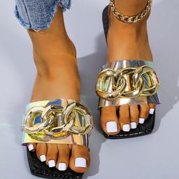 Holographic Chain Decor Slide Sandals   SHEIN