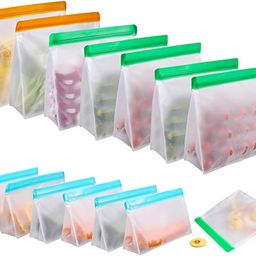 Food Storage Bags for Reusable 14 Pack, Stand Up FDA Grade Leakproof Reusable Vacuum Bags, 2 Gall...   Amazon (US)