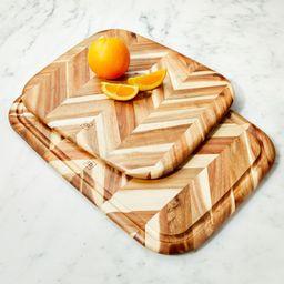 Madeira Herringbone Acacia Wood Board | Crate and Barrel | Crate & Barrel