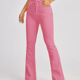 High Waist Lace Up Front Flare Leg Jeans   SHEIN