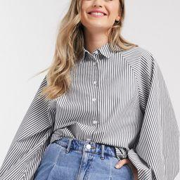 ASOS DESIGN long volume sleeve shirt in navy stripe-Multi | ASOS (Global)