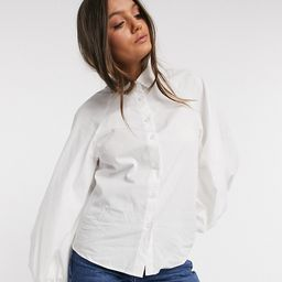ASOS DESIGN Petite long volume sleeve shirt in cotton in white | ASOS (Global)