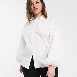 ASOS DESIGN Curve long volume sleeve shirt in cotton in white | ASOS (Global)