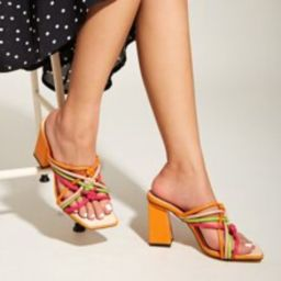 Strappy Chunky Heeled Sandal Mules | SHEIN