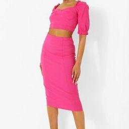 Sweetheart Puff Sleeve Crop & Midi Skirt | Boohoo.com (US & CA)