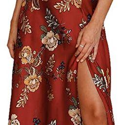 Women Spaghetti Strap Midi Satin Dresses Tie Front Backless Split Hollow Dress | Amazon (US)