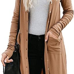 Naggoo Women's Long Cardigans Button Down High Low Solid Knit Loose Cardigans with Pockets | Amazon (US)
