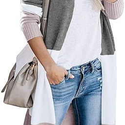 CARDYDONY Women's Long Cardigan Open Front Color Block Cardigan Knit Sweaters | Amazon (US)