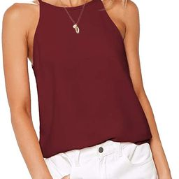 LouKeith Womens Tops Sleeveless Halter Racerback Summer Basic Tee Shirts Cami Tank Tops Beach Blo... | Amazon (US)