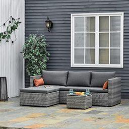 Outsunny 3-Piece Modern Outdoor Patio All-Hand Woven Rattan Wicker Furniture Patio Coffee Table S... | Amazon (CA)