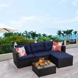 3pc Outdoor Rattan Wicker Furniture Set - Blue - Captiva Designs | Target