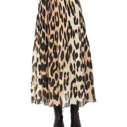 Ganni Pleated Leopard Print Midi Skirt | Cettire Global