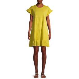 Time and Tru Women's Flutter Sleeve Tiered Dress | Walmart (US)