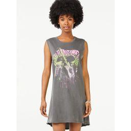 Scoop Women's Jimi Hendrix Groove Sleeveless T-Shirt Dress | Walmart (US)