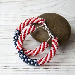 Red White and Blue Hoop Earrings  1.6 / Independence Day   Etsy   Etsy (US)