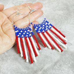 Red White and Blue American Flag Earrings  Beaded Fringe   Etsy   Etsy (US)