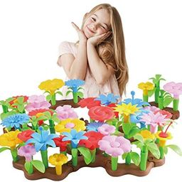 BFUNTOYS 80Pcs Flower Garden Building Toys for Girls 3 4 Year Old, Indoor Stacking Game Pretend P... | Amazon (US)