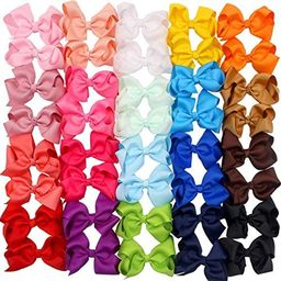 40 Pieces Hair Bows Clips Grosgrain Ribbon Boutique Hair Bow Alligator Clips For Girls Teens Todd... | Amazon (US)