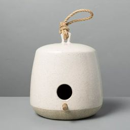 Speckled Stoneware Birdhouse with Wood Perch Sour Cream - Hearth & Hand™ with Magnolia   Target