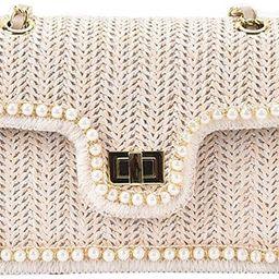 Womens Exquisite Straw Bag Pearl Inlay Shoulder Handbag Summer Rattan Bag Crossbody Bag for Beach... | Amazon (US)