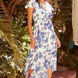 Lovely Romance White Floral Print High-Low Midi Dress | Lulus (US)