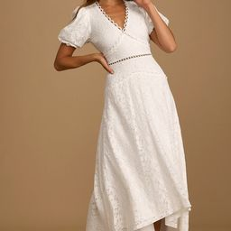 Always in Mind White Lace Puff Sleeve High Low Midi Dress | Lulus (US)