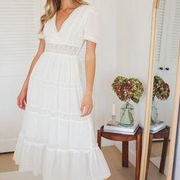 Folklore White Swiss Dot Lace Tiered Midi Dress | Lulus (US)