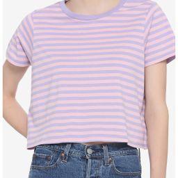 Pink & Lavender Stripe Girls Crop T-Shirt   Hot Topic