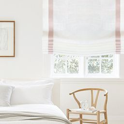White Linen Flat Relaxed Roman Shades with Bordered Pink Peach | Etsy | Etsy (US)