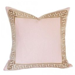 Pale Pink Linen with Greek Key Border | Arianna Belle