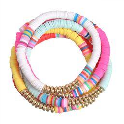 5 Pcs Colorful Sliced Clay Bracelets Handmade Rainbow Polymer Elastic Rope Boho Beaded Bracelet S... | Amazon (US)