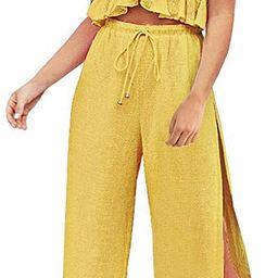 FANCYINN Womens 2 Pieces Outfits Deep V Neck Crop Top Side Slit Drawstring Wide Leg Pants Set Jum... | Amazon (US)